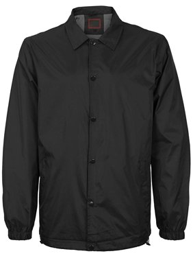 VKWEAR Men's Lightweight Water Resistant Button Up Nylon Windbreaker Coach Jacket (Black, M)