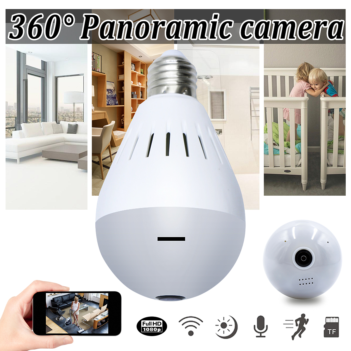 Wireless 360° 1080P HD Hidden Bulb Camera WiFi Security Home Pet Baby Monitor Infrared Light Vision ✔Two Way Voice Audio✔ Automatically Switch ✔Night Vision✔Mobile app✔Normal Light