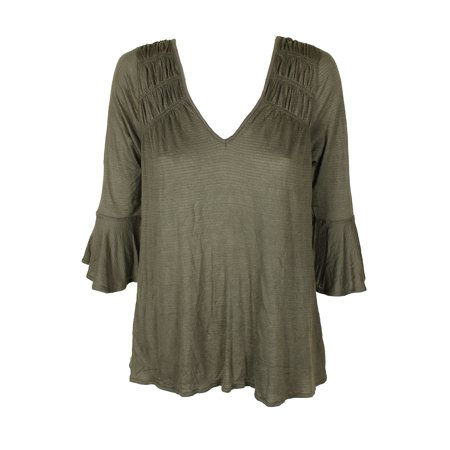 - American Rag Juniors Dusty Olive Ruched Bell-Sleeve Blouse XXS
