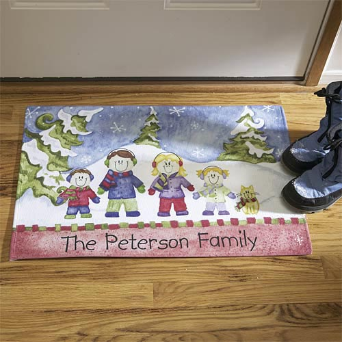 "Personalized Winter Family Doormat 17"" x 27"""