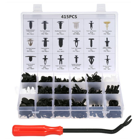 Car Retainer Clips & Plastic Fasteners Kit Auto Fastener Clips with Clips Removal Tool 415PCS 18 Sizes Car Push Pin Rivet Trim Clips Panel Moulding Car Accessories