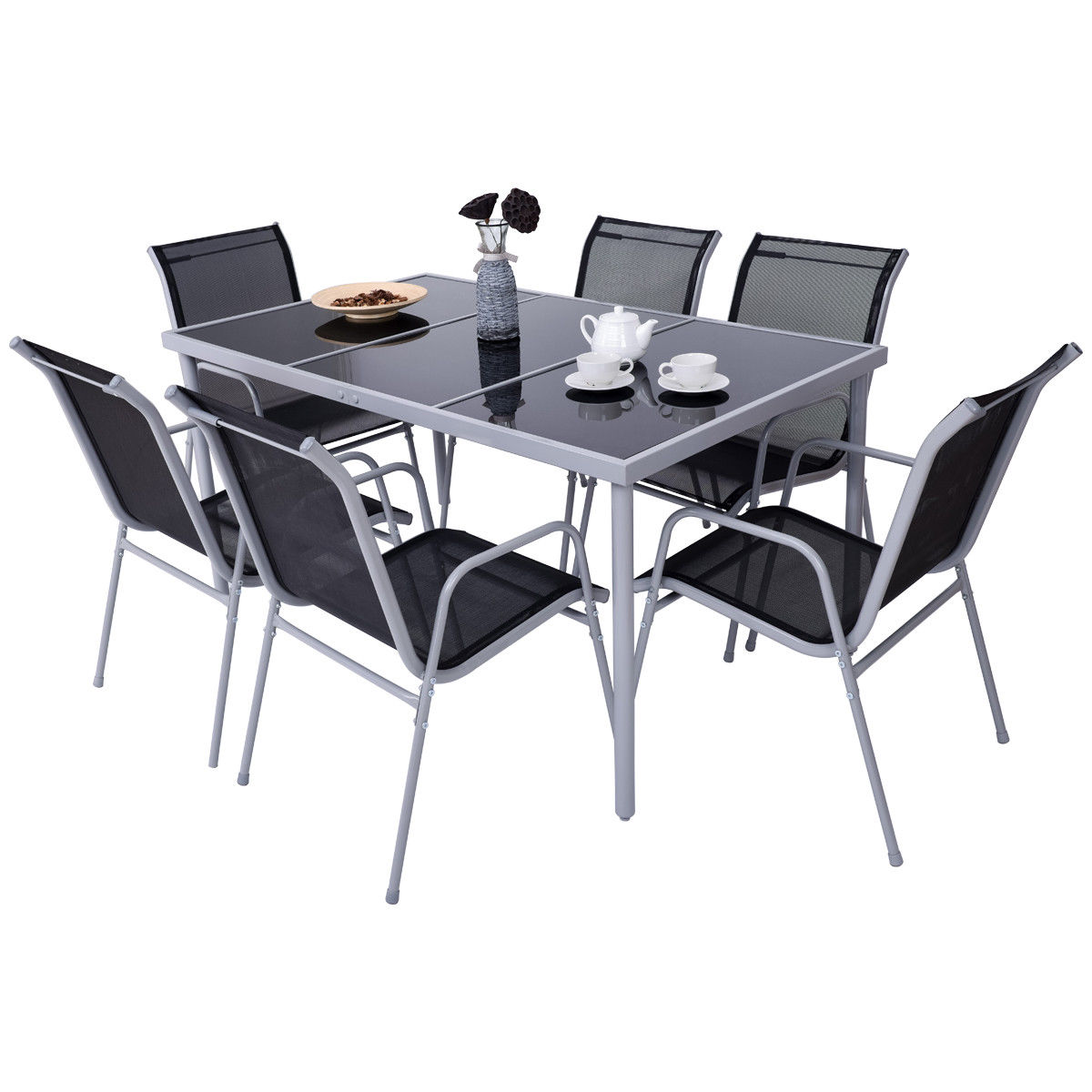 GHP 6-Pcs Steel Black & Silver Patio Chairs with Glass Table Top Dining Furniture Set