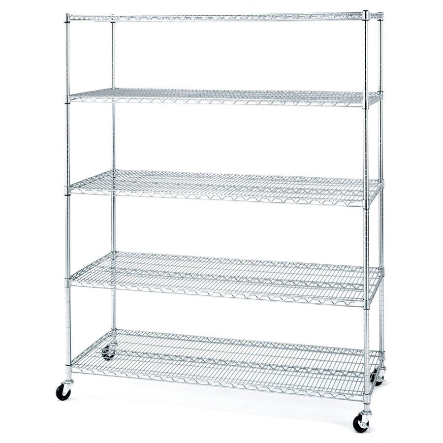 Seville Classics UltraDurable Commercial-Grade 5-Tier Steel Wire Shelving with Wheels, 72 in. x 60 in. x 24 in