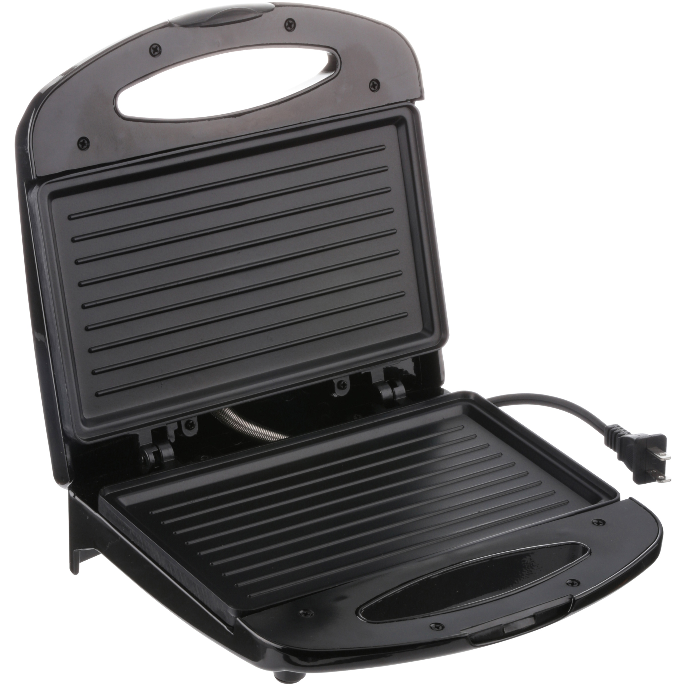 Chefman Contact Grill, Black - 2 Slice Non-Stick Grill Plates, includes Removable Drip Tray