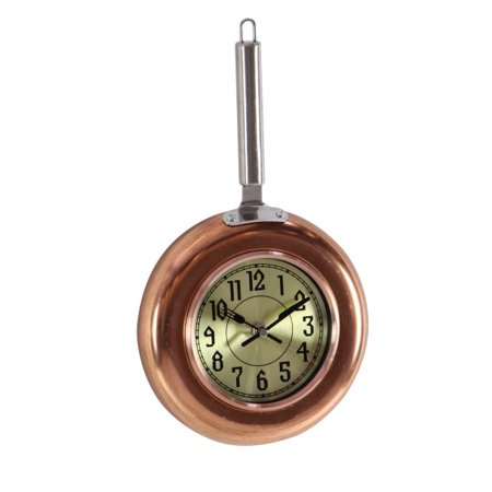 Decmode Eclectic 14 x 8 inch copper frying pan-inspired iron wall clock, Copper
