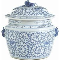 Lidded Rice Jar Vase Floral Colors May Vary White Blue Varying Black New  LA-326
