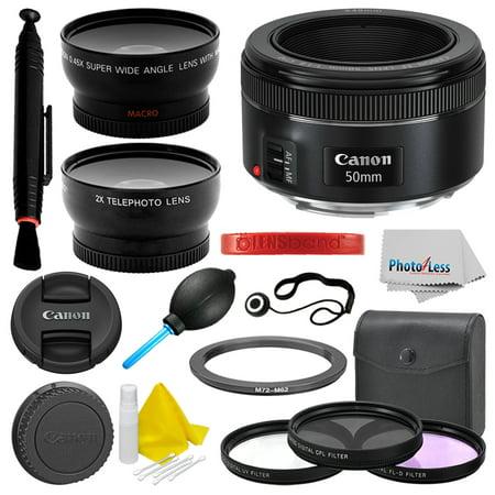 Canon EF 50mm f/1.8 STM Lens + Filter Kit + Lens Band + More Deluxe Value Bundle ()