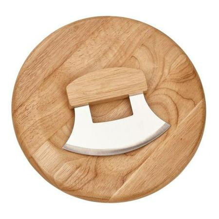 "CGI Ulu Knife With 9.5"" Round Wood Board"