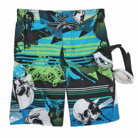 8f60aba33a Zero Xposur - Zero Xposur Boys Blue & Green Skull Swim Trunks Board Shorts  & Goggles Set - Walmart.com