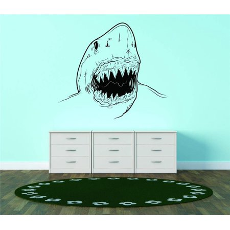 Custom Wall Decal Shark Open Mouth Deep Ocean Sea Animal Vinyl Wall Vinyl Decor 15x15 (Shrek Wall Decals)