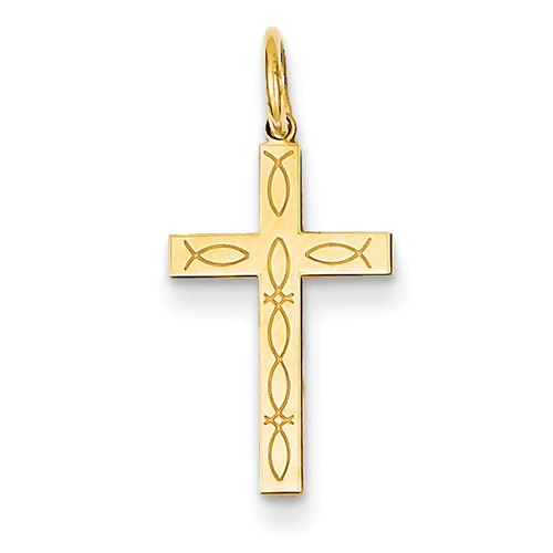 14k Yellow Gold Laser Designed Latin Cross Charm Pendant