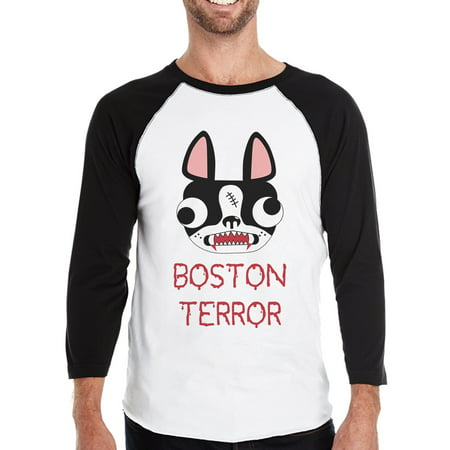 Boston Terror Terrier Mens 3/4 Sleeve Baseball Shirt For Halloween - Emory Baseball Halloween