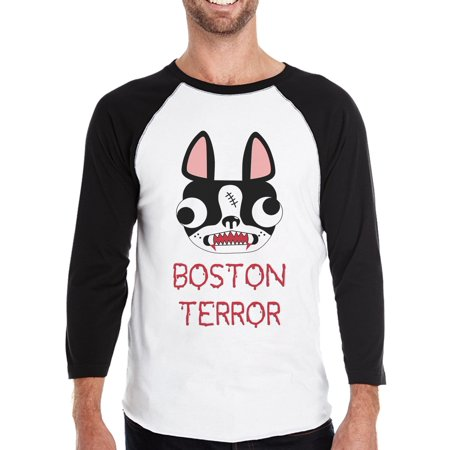 Boston Terror Terrier Mens 3/4 Sleeve Baseball Shirt For - Funny Halloween Boston Terrier