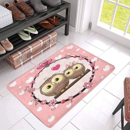 POP Greeting with Two Cute Cartoon Owls Door Mat Home Decor Indoor Entrance Doormat 30x18 Inches - image 2 of 3