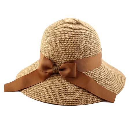 Women Lady Straw Bowknot Decor Brimmed Beach Hat Topee Floppy Cap