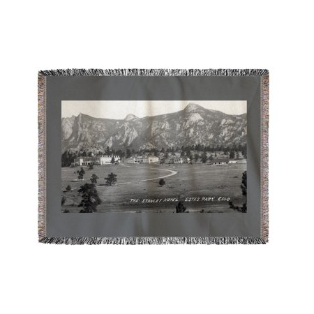 Estes Park  Colorado   Exterior View Of The Stanley Hotel  60X80 Woven Chenille Yarn Blanket