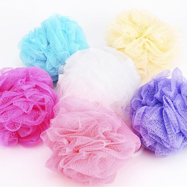 Tuscom 5pcs Bath Shower Body Exfoliate Puff Sponge Mesh Net Ball
