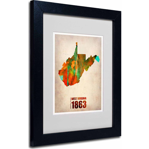 "Trademark Fine Art ""West Virginia Watercolor Map"" Matted Framed Art by Naxart, Black Frame"