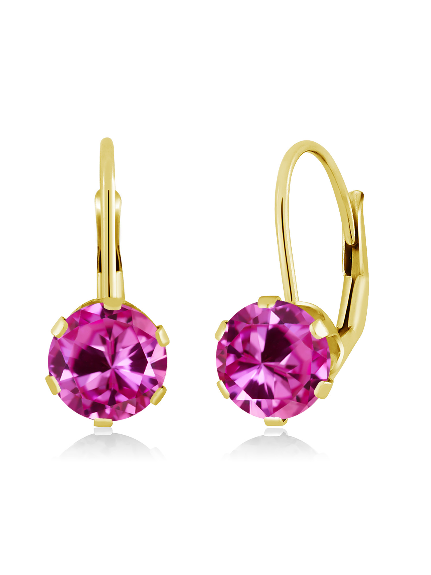 2.00 Ct Round Pink Created Sapphire 14K Yellow Gold Earrings by