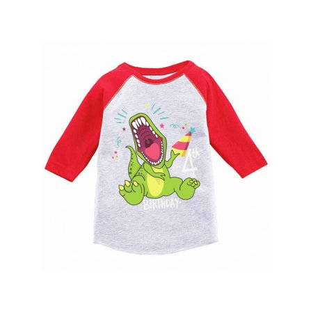 Awkward Styles Dinosaur Birthday Toddler Raglan 4th Birthday Party Shirt Dinosaur Gifts for Kids Dinosaur Themed Birthday Party 4th Birthday Boy Jersey Shirt Gifts for 4 Year Old Birthday Girl Tshirt
