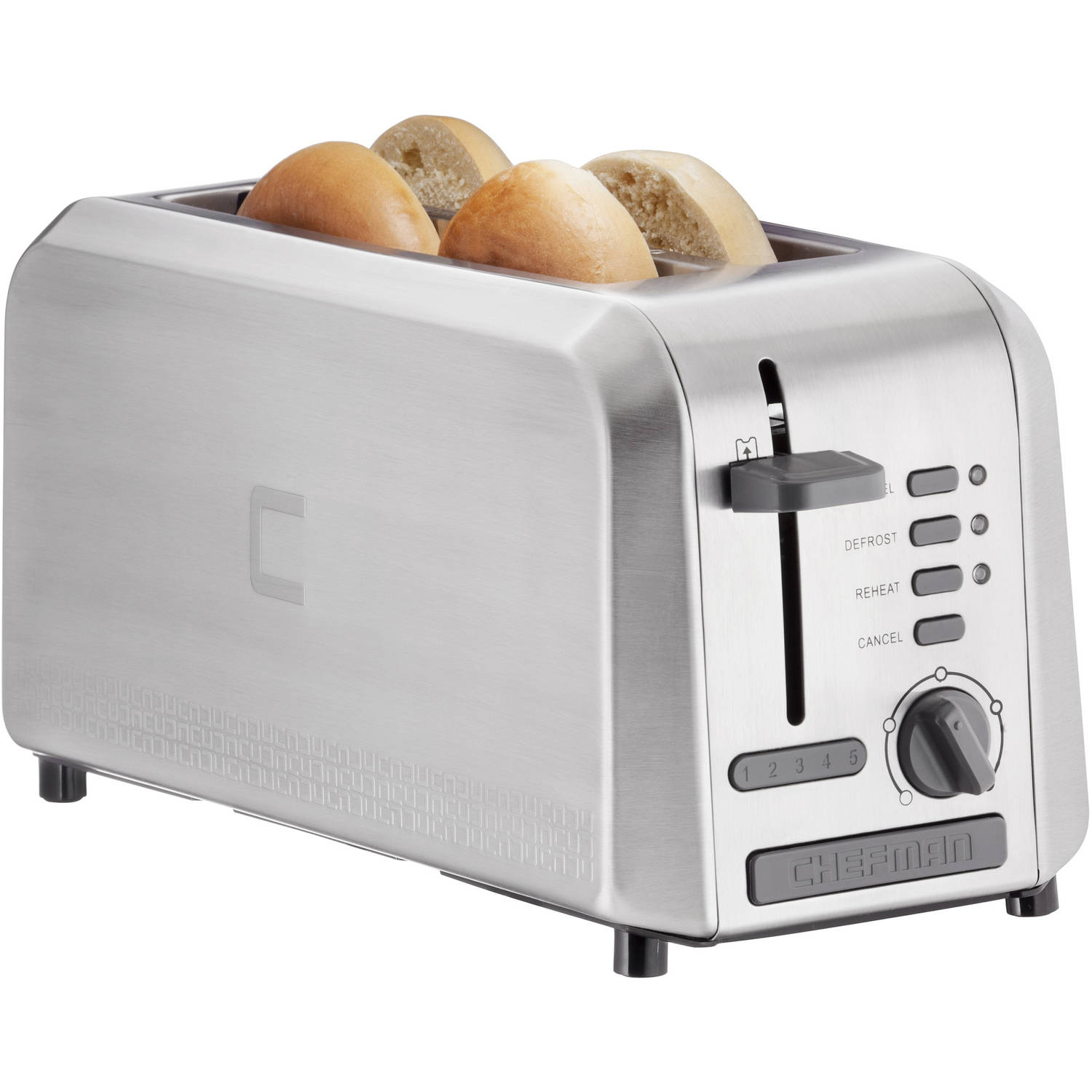 Chefman 4-Slice Long Slot/Wide Slot Stainless Steel Toaster