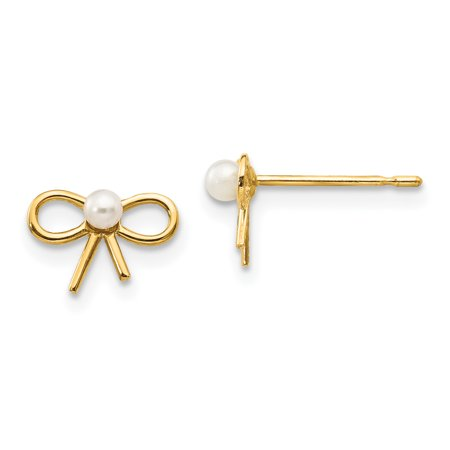 14k Yellow Gold Freshwater Cultured Pearl Childrens Bow Post Stud Earrings Gifts For Women For Her