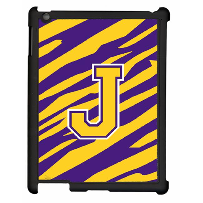 Carolines Treasures CJ1022-J-IPADC Tiger Stripe - Purple Gold Letter J Initial Ipad 2 Ipad 3 Snap On Artcase
