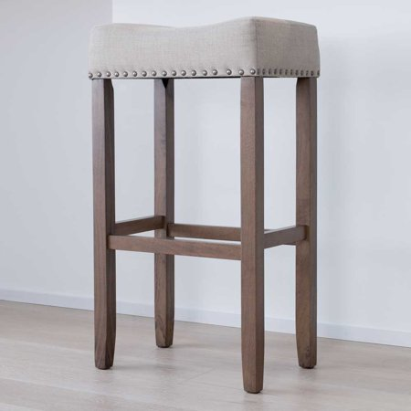 Hylie Wood Pub Height Kitchen Bar Stool 29 Quot Pale Beige