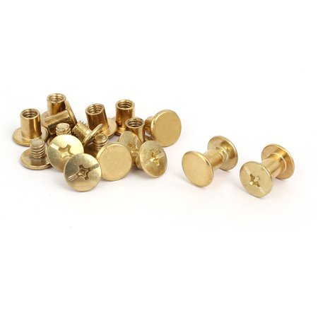 Uxcell 5mmx6mm Binding Chicago Screw Posts Nuts Docking Rivets Brass Tone (10-pack)