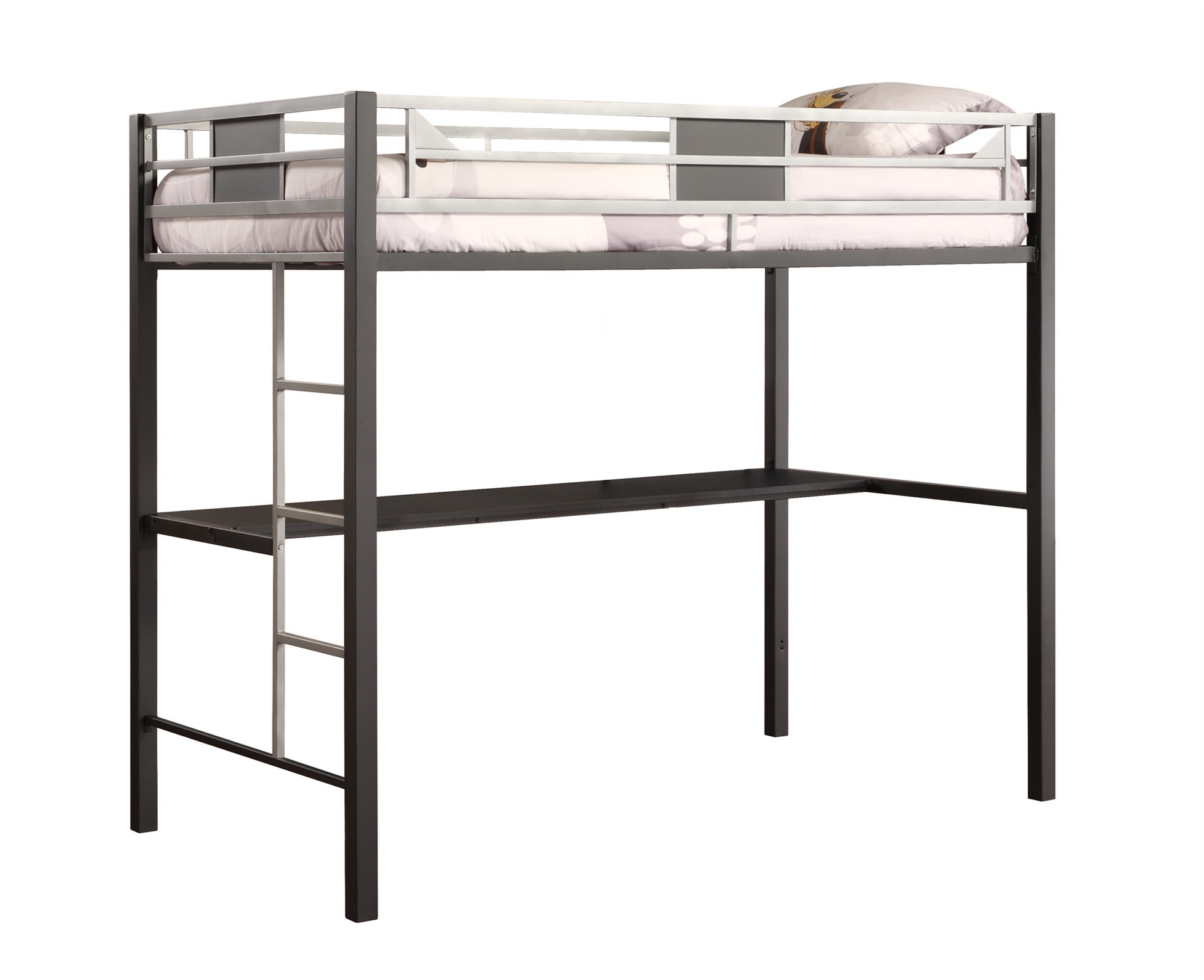 Dorel Silver Screen Twin Metal Loft Bed with Desk, Black/Silver ...