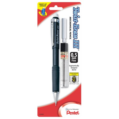Pentel Twist-Erase III Mechanical Pencil, 0.5mm Fine Point with Lead and Eraser