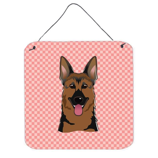 Checkerboard Pink German Shepherd Aluminum Metal Wall Or Door Hanging Prints, 6 x 6 In.