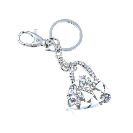 Enamel Iced Crystal Rhinestone Lady Designer Handbag Purse Hook Clip Keychain (Keychain Bag Clip)