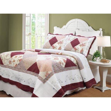 BEST BEDDING INC Cozy Line Georgia Burgundy Cotton Patchwork 3-piece Quilt