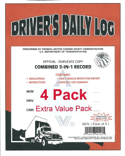 "J.J. Keller 607L 5-In-1 Driver's Daily Log Book, 2-Ply, w Carbon. Book Format, w Detailed DVIR, 8-1 2"" x... by J. J. Keller"
