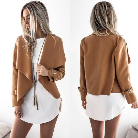 Jacket Tunic Skirt (Women Lady Lapel Long Sleeve Short Jacket Coat Outwear Cardigan Tunic Open Front)