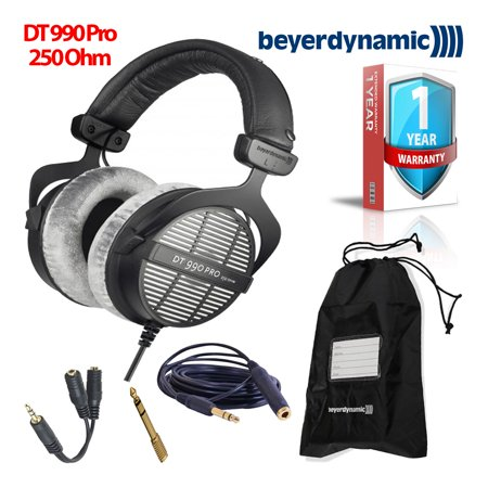 beyerdynamic dt 990 pro 250 ohm headphones bundle with extended warranty. Black Bedroom Furniture Sets. Home Design Ideas