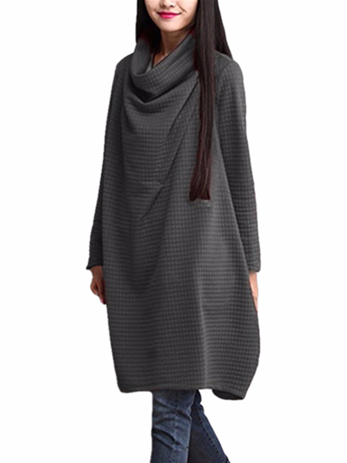 Womens Loose Casual Pullover Jumper Baggy Long Dresses