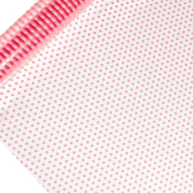 "Pink Polka Dots Printed Cellophane 30"" X 100' by Paper Mart"