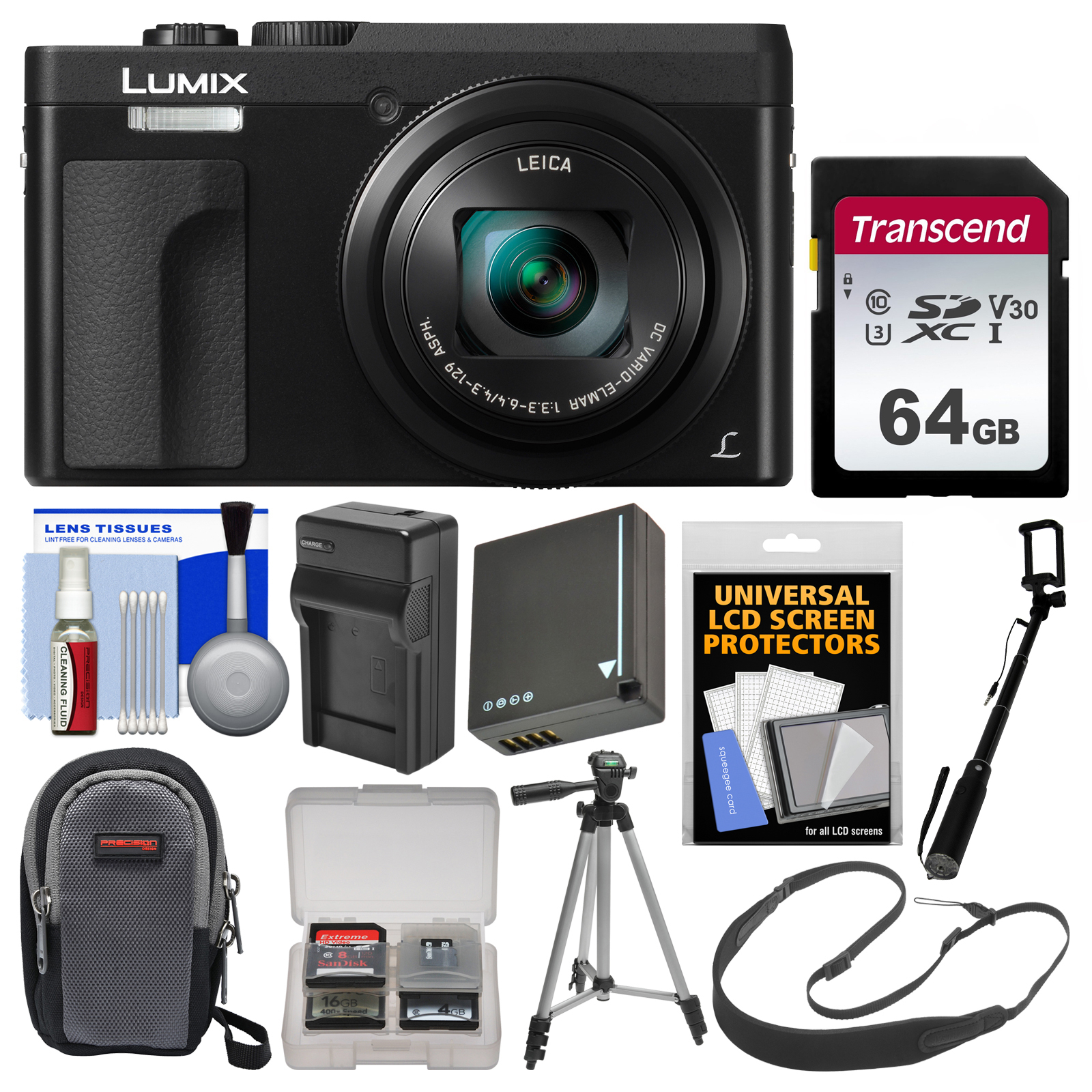 Panasonic Lumix DC-ZS70 4K Wi-Fi Digital Camera (Silver) with 64GB Card + Case + Battery + Charger + Monopod + Tripod + Strap + Cleaning Kit