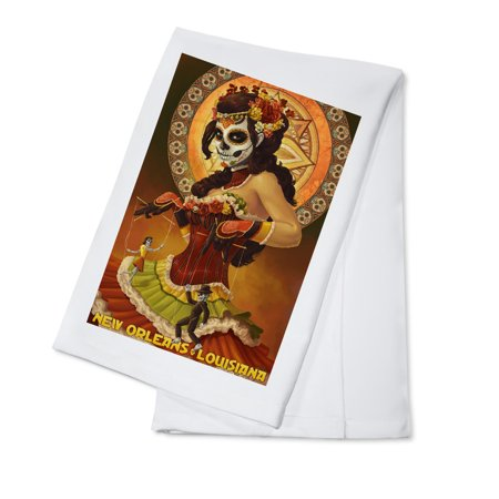 New Orleans, Louisiana - Dia De Los Muertos Marionettes - Day of the Dead - Lantern Press Artwork (100% Cotton Kitchen (New Orleans Day Of The Dead 2018)