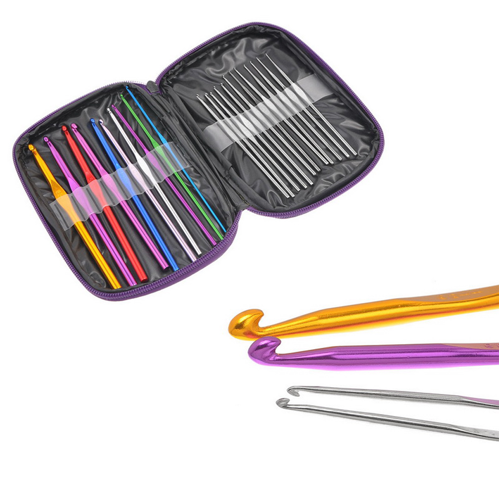THZY 22pcs Mixed Aluminum Handle Crochet Hook Knitting Knit Needle Weave Yarn Set