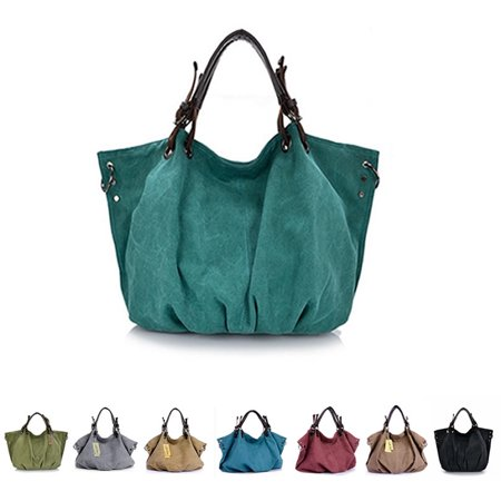 Washed Canvas Slouch Satchel With Vegan Leather, Multiple Colors - Logo Wash Bag
