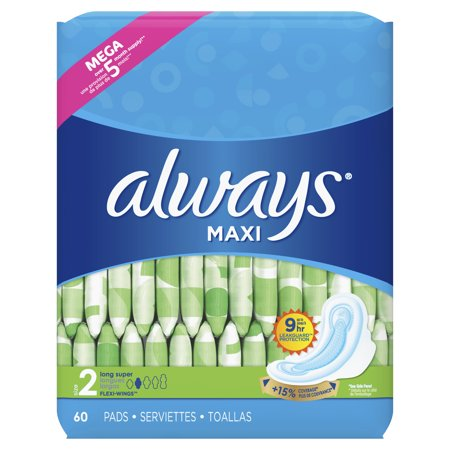 Always Maxi, Super Pads With Wings (Choose Size and Count)](Always With You)