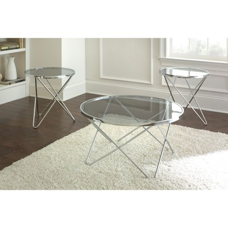 steve silver matrix round chrome and glass coffee table set. Black Bedroom Furniture Sets. Home Design Ideas