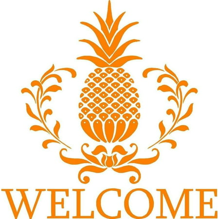 Custom Wall Decal Pineapple Fruit Welcome Sign Picture Art - Home Entrance Decor - Sticker - Vinyl Wall Decal 21x21