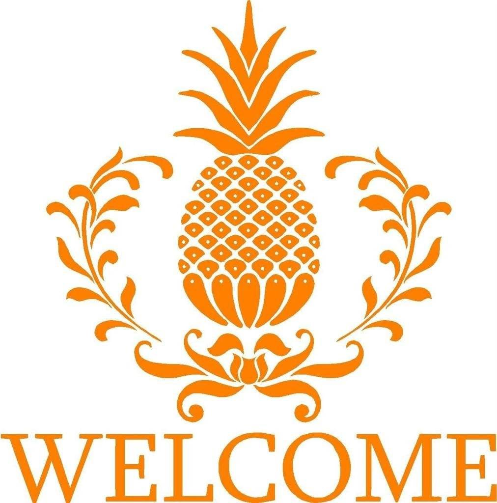 Pineapple Fruit Welcome Sign Picture Art - Home Entrance Decor - Sticker - Vinyl Wall Decal 21x21""