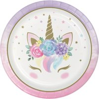 Creative Converting Unicorn Baby Shower Paper Plates, Pack Of 8