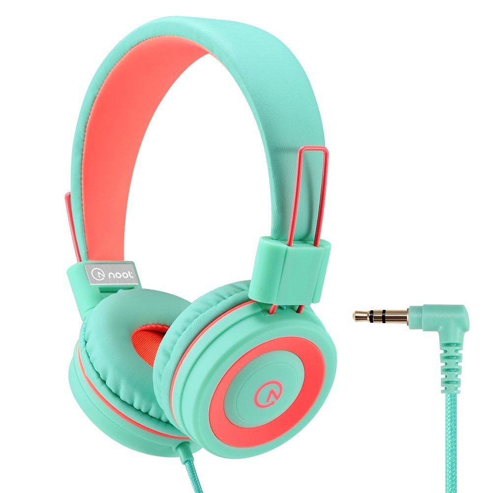 Kids Headphones - noot products K11 Foldable Stereo Tangle-Free 3.5mm Jack Wired Cord On-Ear Headset for Children - Mint / Coral