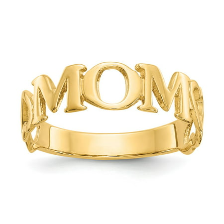 14k Yellow Gold Polished Mom Ring